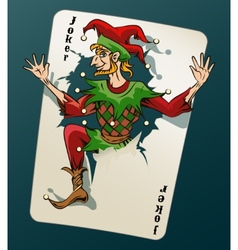 Cartooned joker jumping out from playing card vector