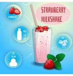Strawberry smoothie milkshake recipe poster print vector
