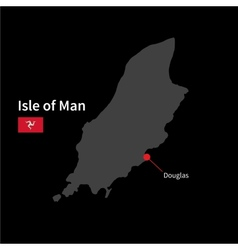 Detailed map of isle of man and capital city vector