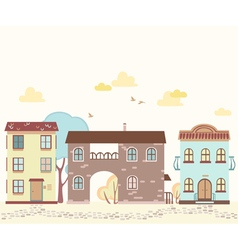 Cartoon street with houses clouds trees vector