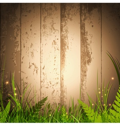 Grass over wooden background vector