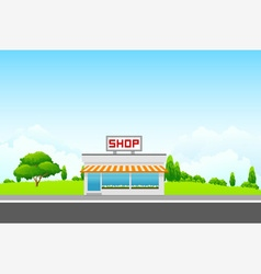 Landscape with shop building vector