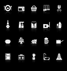 Home kitchen icons with reflect on black vector