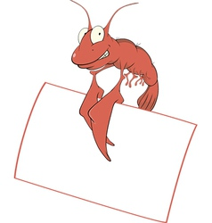 Red shrimp with the empty blank cartoon vector