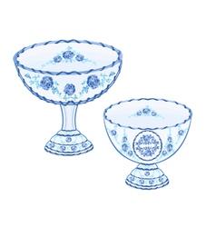 Faience cups decoration ceramic porcelain vector