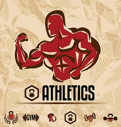 Athletics gym labels vintage fitness emblems vector