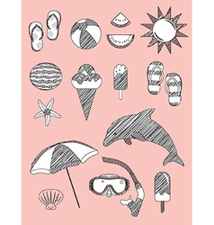 Set of summer fun sketch scribble objects vector