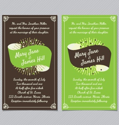 Wedding invitation with ribbon vector