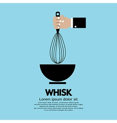 Hand holding a whisk vector