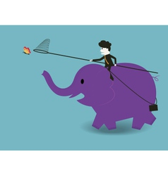 Businessman to ride an elephant to catch a butterf vector