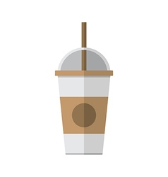 Coffee cup with straw vector