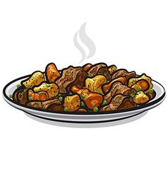 Beef stew dish vector
