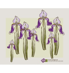 Card design with decorative iris flower vector