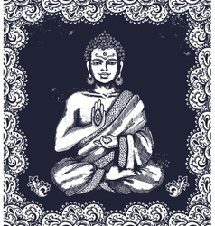Vintage with buddha in meditation vector