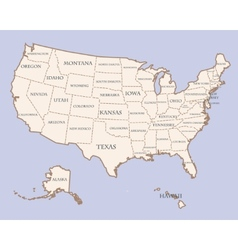 Usa map with states names vector