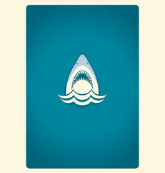 Shark jaws logo blue symbol vector