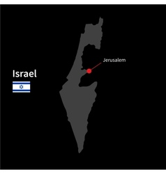 Detailed map of israel and capital city jerusalem vector