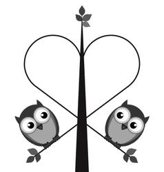 Owl tree heart vector