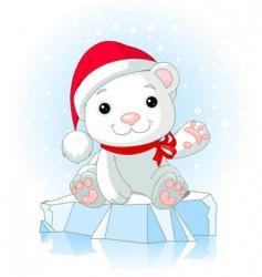 Christmas polar bear vector