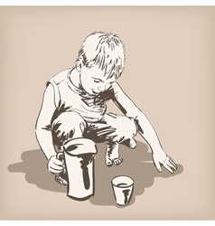 Child playing vector