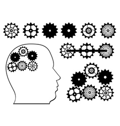 Gear wheels and a human head vector