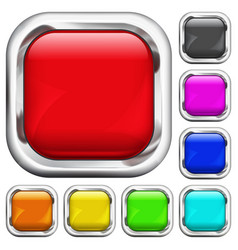 Set of square multicolored buttons vector