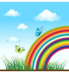 Rainbow nature butterfly vector