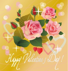 Flowers postcard valentine s day vector