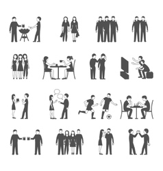 Friends black icons set vector