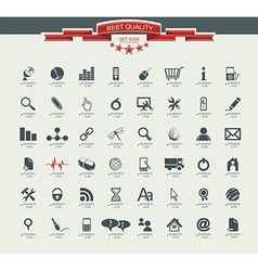 Quality icon set service medical media mail mobile vector