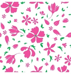 Magenta flowers silhouettes seamless vector