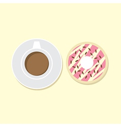 Donut and hot coffee vector