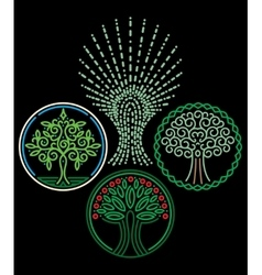 Set of templates with trees for badges stamps vector