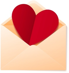 Simple envelope with red paper heart vector