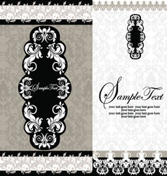 Black and white damask wedding invitations vector