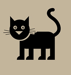 Flat black cat vector