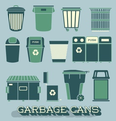 Garbage and recycling cans vector