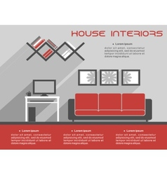 House interior design template vector
