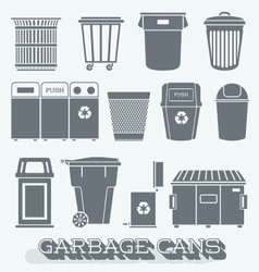 Garbage cans and recycling bins vector