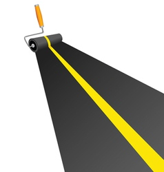 Roller painting road with yellow line vector