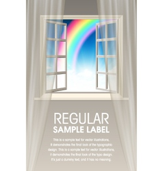 Opening window with rainbow and sky vector