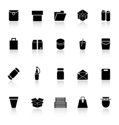 Package icons with reflect on white background vector