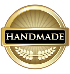 Handmade gold label vector