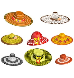Set of female hats vector