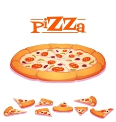 Hot pizza on white vector