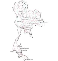 Thailand black white map vector
