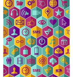 Social media flat icons seamless pattern vector