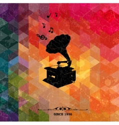 Retro turntable on colorful geometric background vector