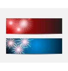 Glossy fireworks website header and banner set vector