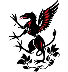 Standing black griffin with flower vector